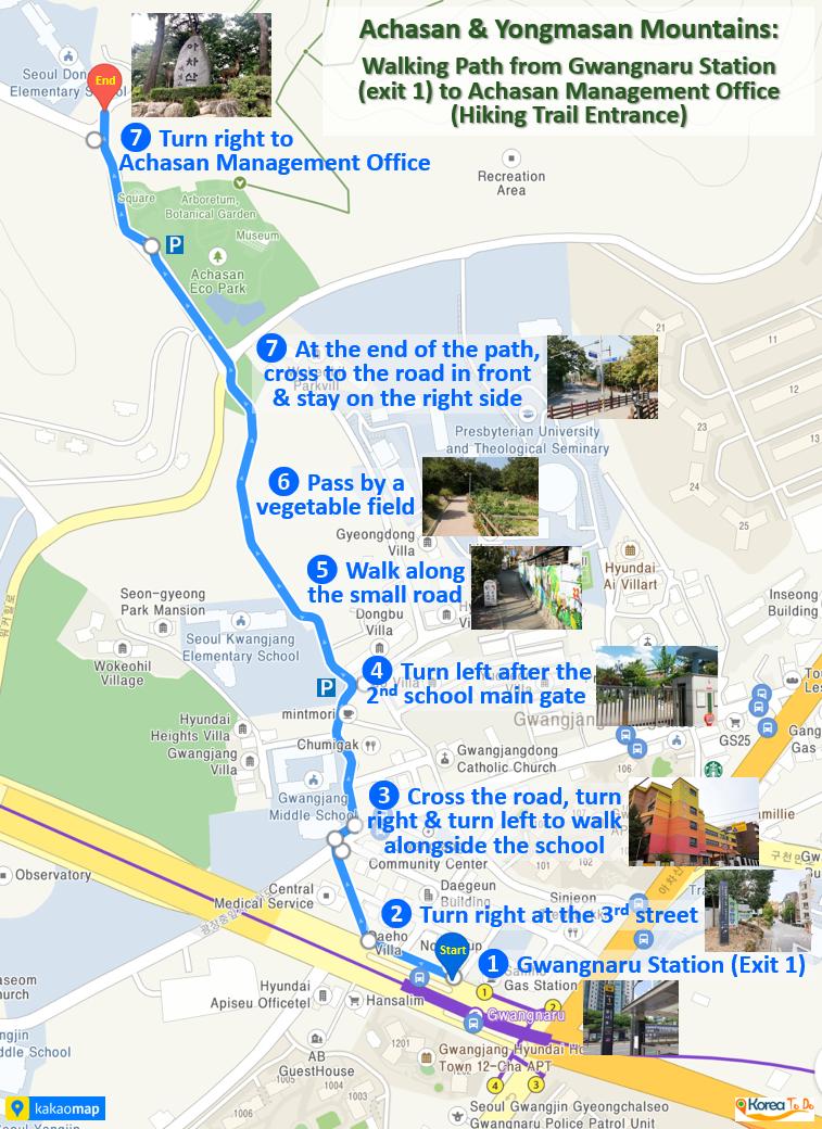 Achasan Mountains - Map - Walking Path from Gwangnaru Station to Achasan Management Office