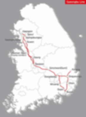 KTX - Gyeongbu Line Map | KoreaToDo