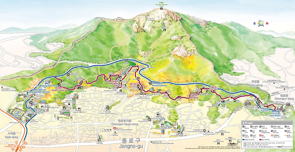 Inwangsan Jarak-gil Trail & Forest Trail - Map | KoreaToDo
