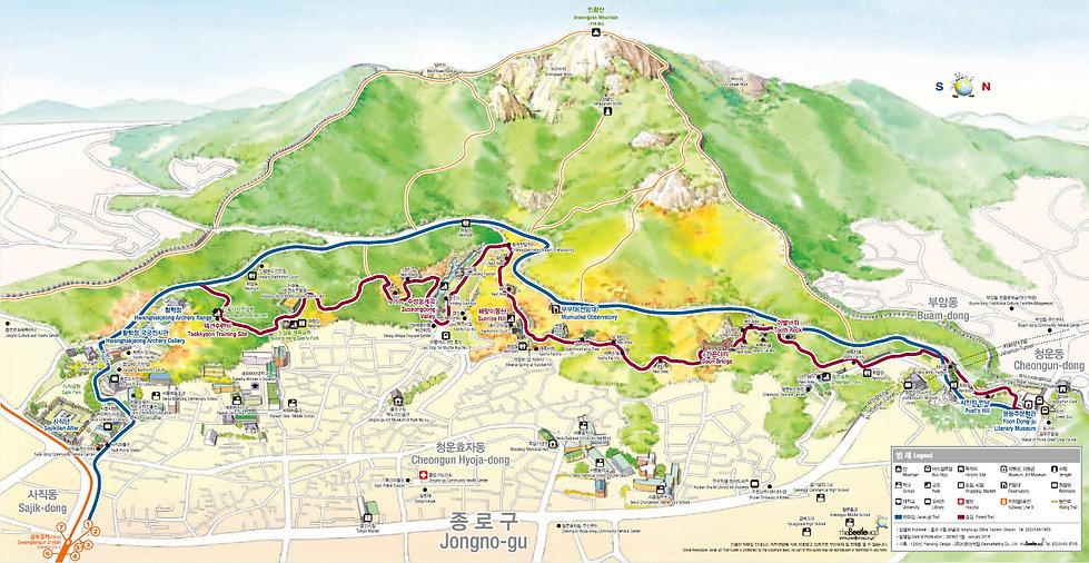 Inwangsan Jarak-gil Trail & Forest Trail - Map | KoreaToDo