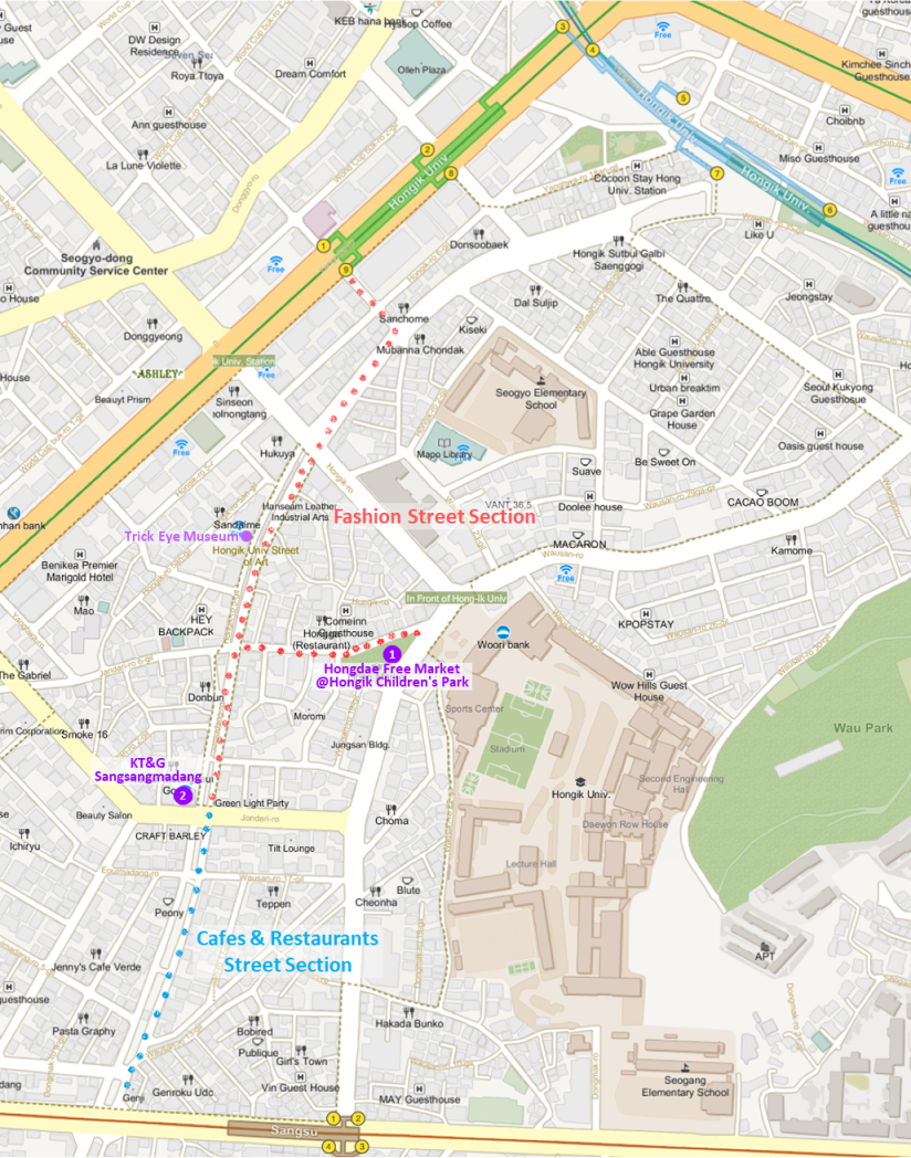 Getting to Hongdae (Hongik University Street) & Location Map | Seoul, South Korea