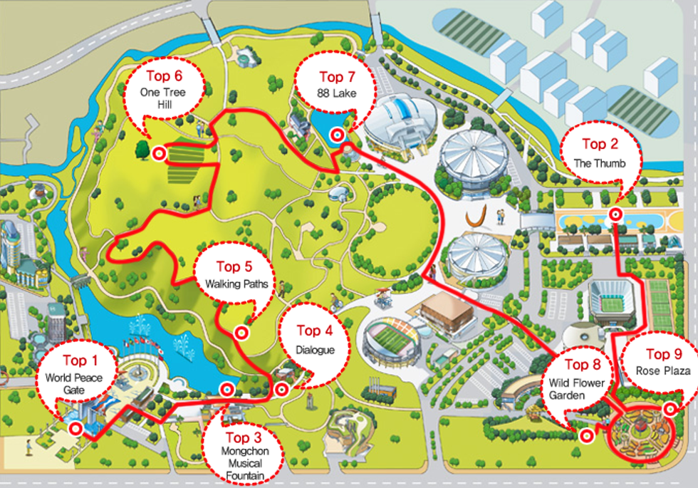 Map of Top 9 Photo-taking Spots at Olympic Park | Seoul, South Korea