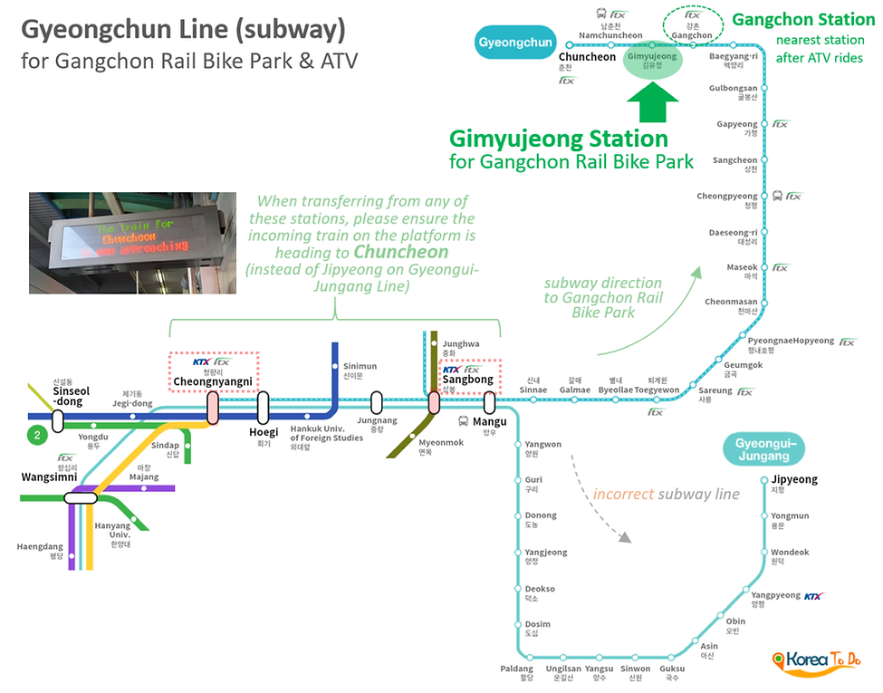 Map of Gyeongchun Line (subway) to Gimyujeong Staition for Gangchon Rail Bike Park | KoreaToDo