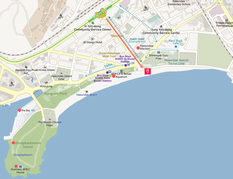 Getting to Haeundae Beach & Location Map of Top Places around | Busan, South Korea