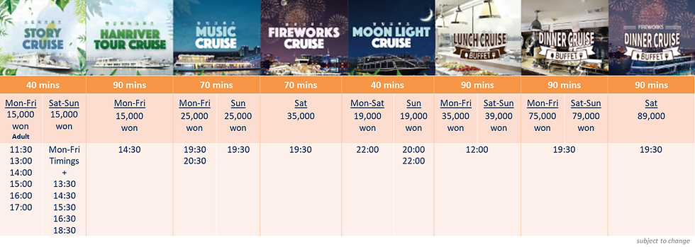 Cruise Themes & Schedule of E-land Han River (Hangang) Cruise | Seoul, South Korea