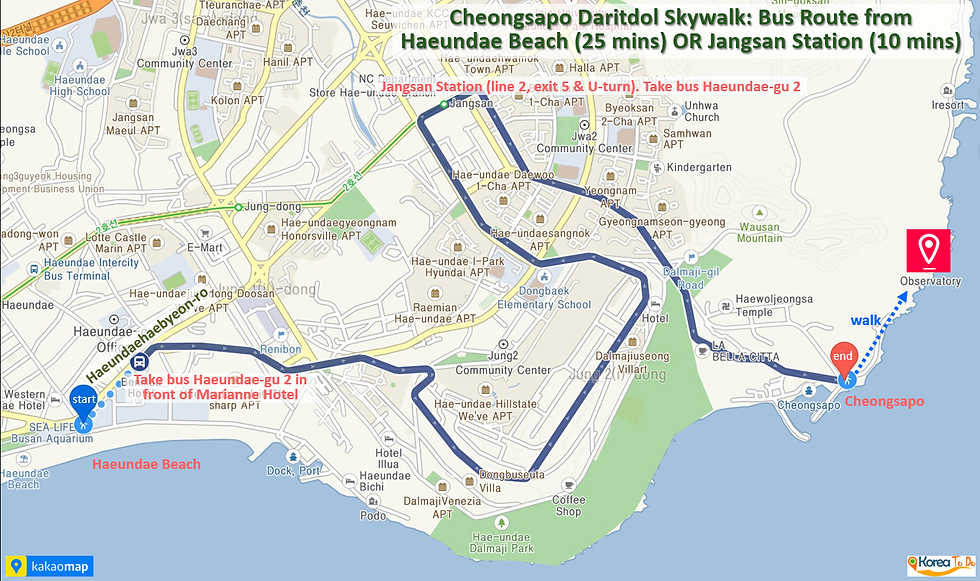 Cheongsapo Daritdol Skywalk - Bus Route from Haeundae Beach or Jangsan Station to Cheongsapo | KoreaToDo