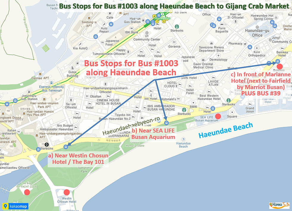 Gijang Crab Market - Bus Stops for Bus #1003 along Haeundae Beach | KoreaToDo