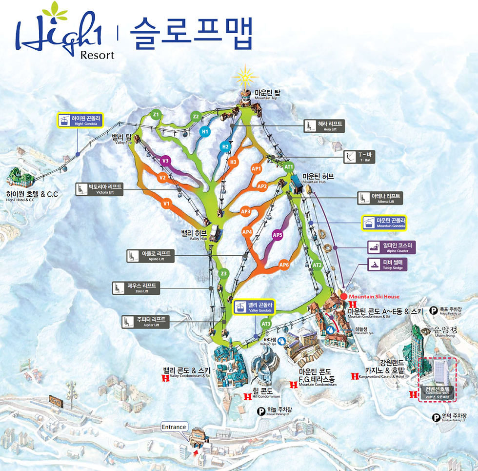 Map of High1 Resort | South Korea