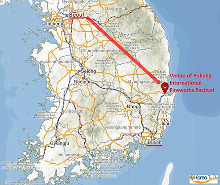 Map on Getting to Pohang International Fireworks Festival from Seoul | KoreaToDo