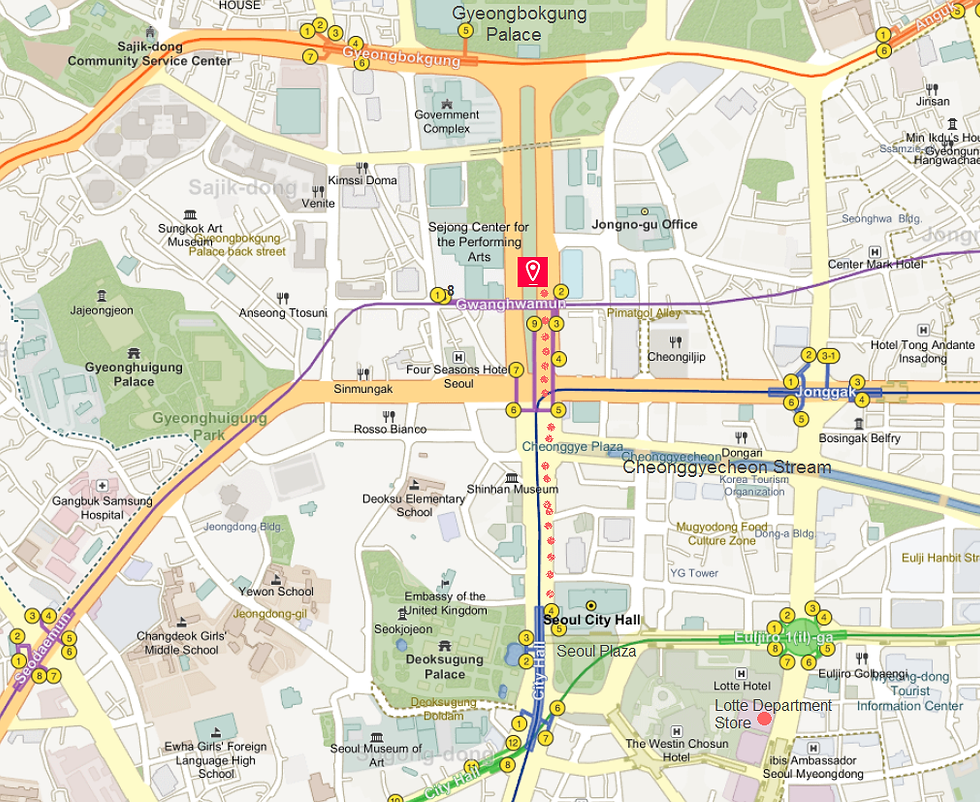 Getting to Gwanghwamun Square & Location Map | Seoul, South Korea
