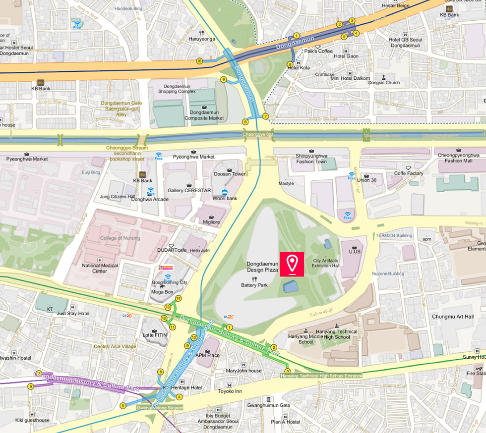 Getting to Dongdaemun Design Plaza (DPP) & Location Map of Top Places around | Seoul, South Korea