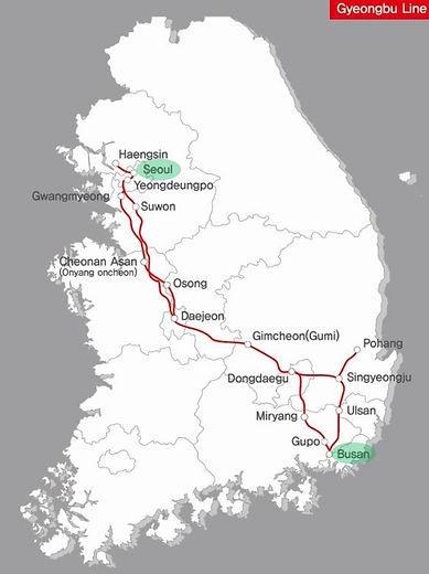 Seoul to Busan - KTX Train Network Map - Gyeongbu Line | KoreaToDo