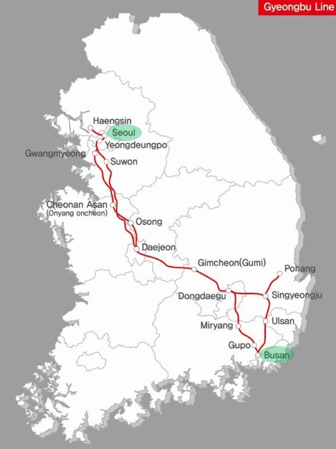 Seoul to Busan - KTX Train Network Map | KoreaToDo