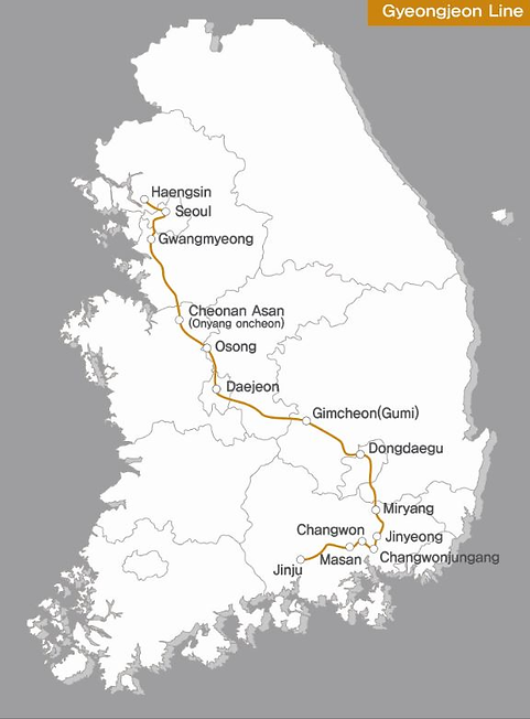 KTX - Gyeongjeon Line Map | KoreaToDo