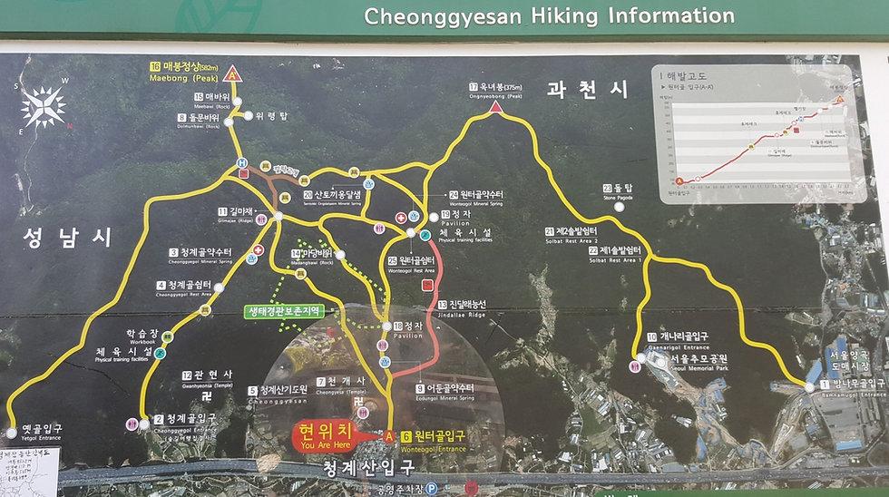 Map of Cheonggyesan (Mountain) Hiking Courses | Seoul, South Korea