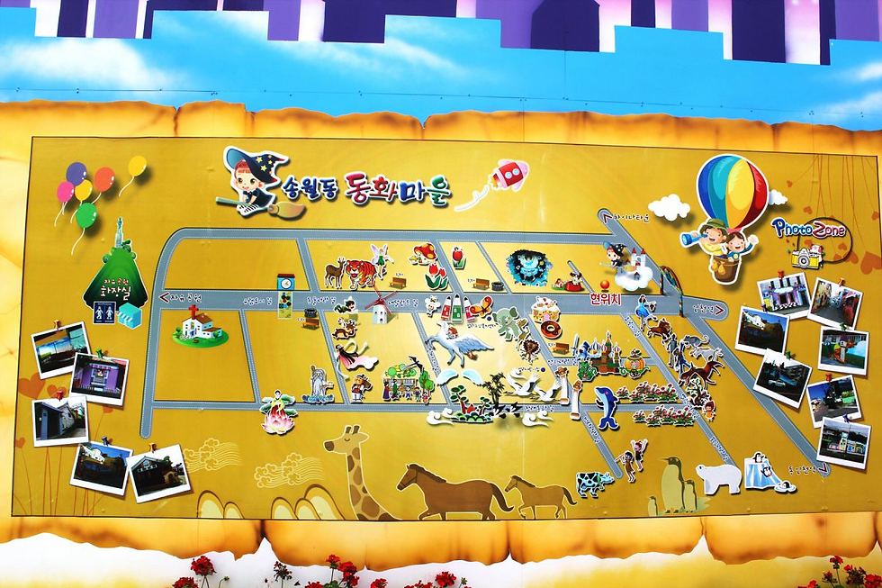 Incheon - Tourist Map of Songwol-dong Fairy Tale Village Photo Zone | Incheon, South Korea