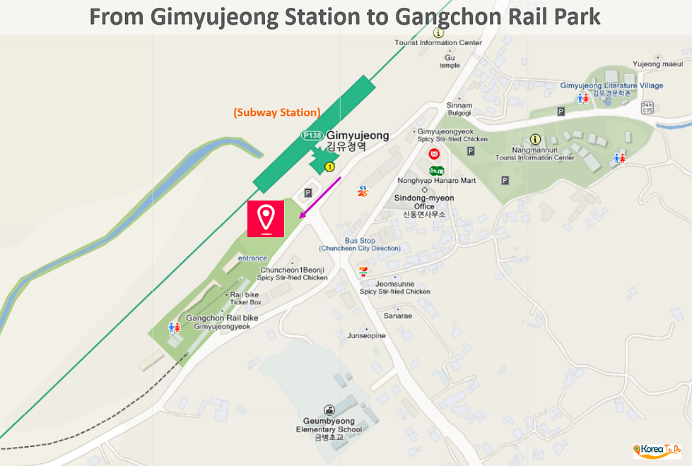 Location Map of Gimyujeong Station (subway) to Gangchon Rail Park | KoreaToDo