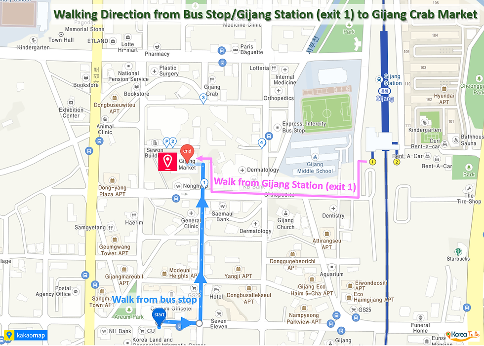 Gijang Crab Market - Walking Direction from Bus Stop or Gijang Station | KoreaToDo