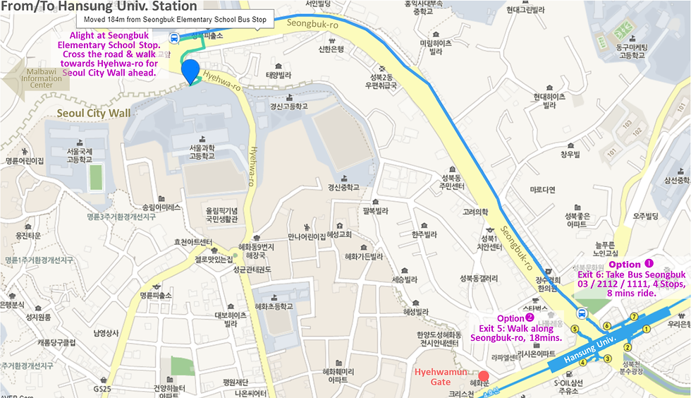 Map of Walking or Bus Route from Hansung Univ. Station to Seoul City Wall | KoreaToDo