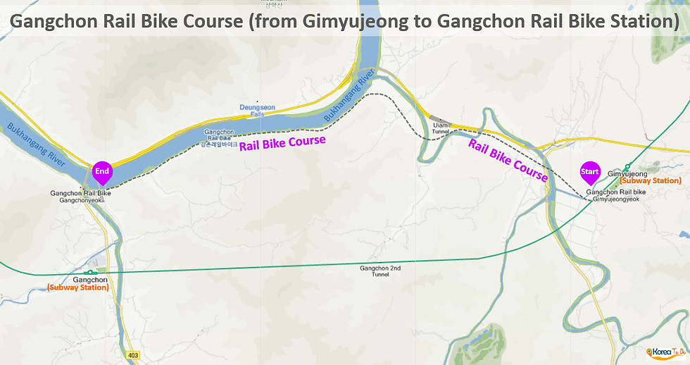 Map of Gangchon Rail Bike Course (from Gimyujeong to Gangchon Rail Bike Station) | KoreaToDo