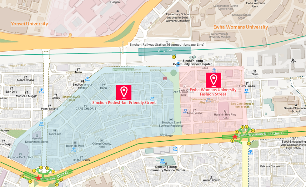 Getting to Sinchon & Ewha Womans University Shopping District & Location Map | Seoul, South Korea