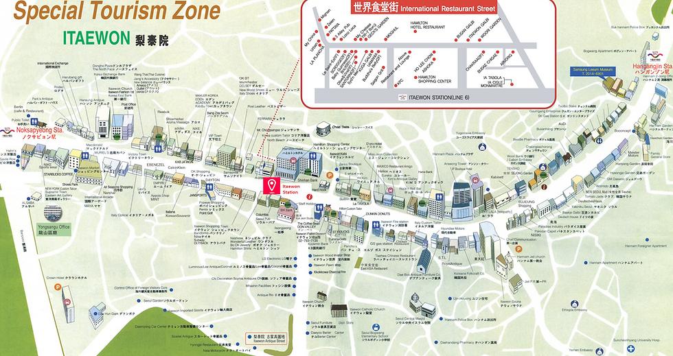 Getting to Itaewon Street & Tourist Map | Seoul, South Korea