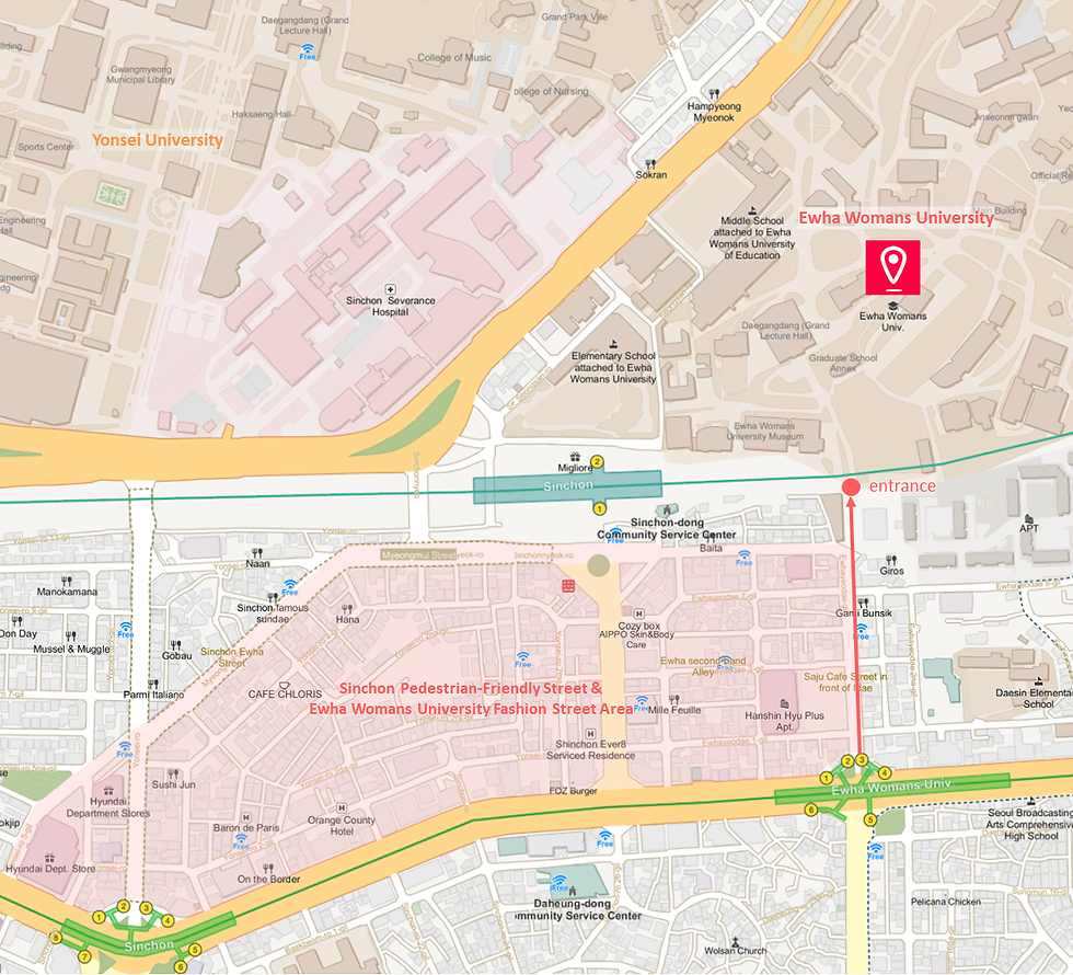 Getting to Ewha Womans University & Location Map of Top Places around | Seoul, South Korea