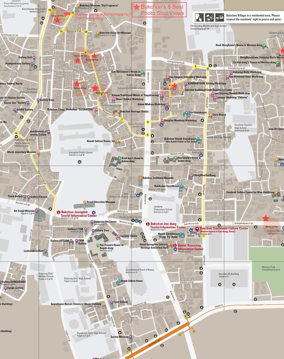 Bukchon Hanok Village Map   Seoul, South Korea