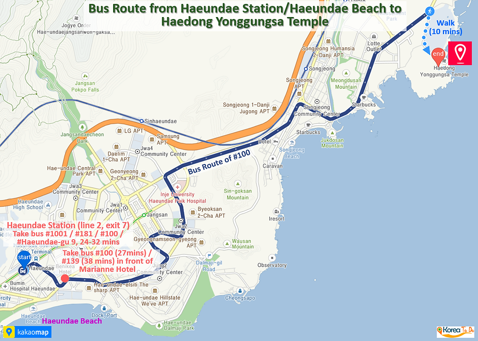 Bus Route from Haeundae Beach/Haeundae Station to Haedong Yonggungsa Temple | Busan, South Korea