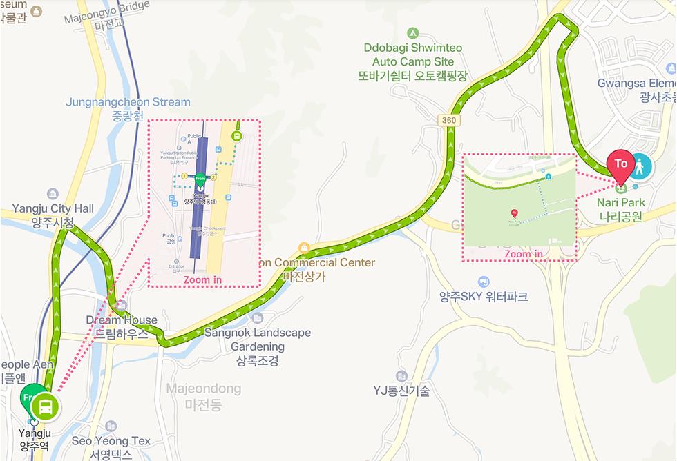 Bus Journey Map from Yangju Station to Yangju Nari Park   KoreaToDo