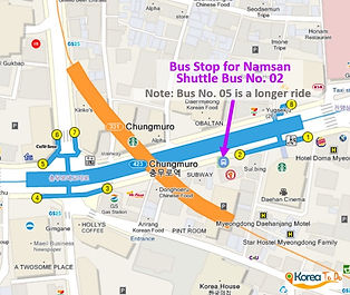 Map of Namsan Shuttle Bus 02 from Chungmuro Station (line 3/4) | KoreaToDo