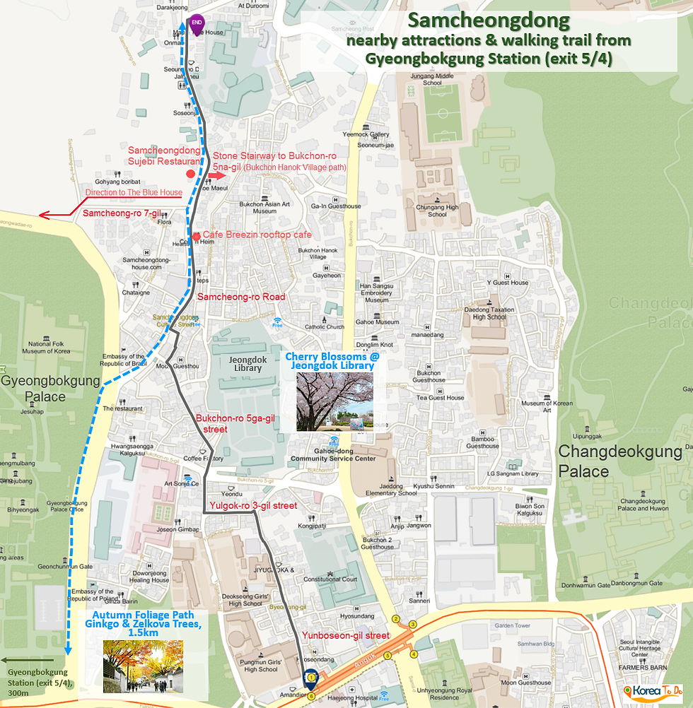 Getting to Samcheongdong & Location Map of Top Places around | Seoul, South Korea