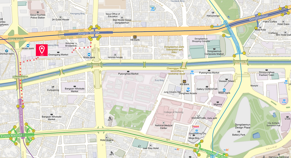 Getting to Gwangjang Market & Location Map of top Places around | Seoul, South Korea