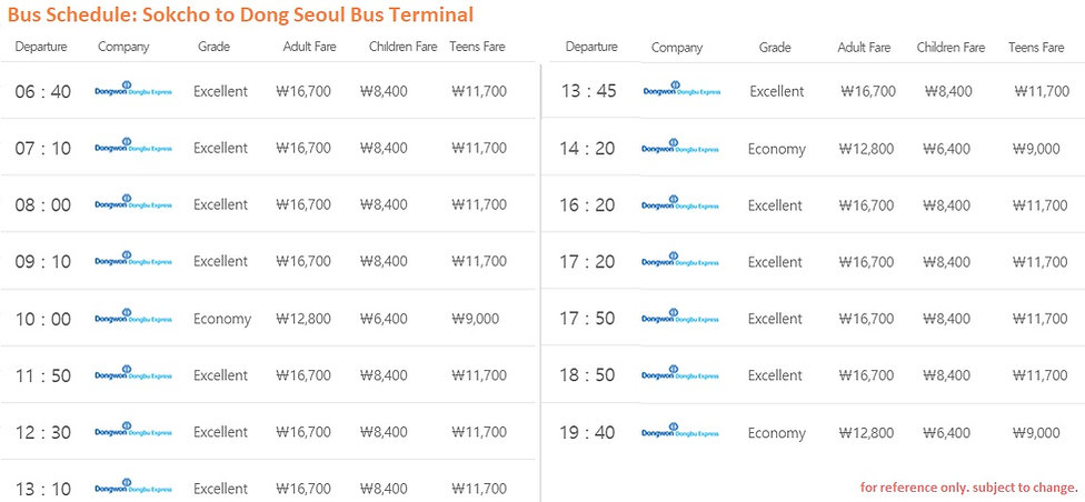 Bus Schedule of Sokcho to Dong Seoul Bus Teminal | Seoraksan National Park, KoreaToDo