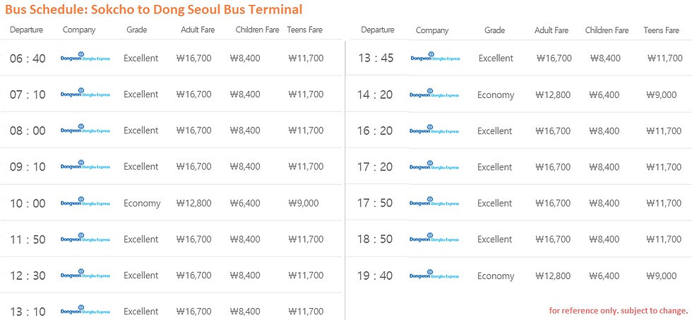 Bus Schedule of Sokcho to Dong Seoul Bus Teminal | Seoraksan National Park, KoreaToDo