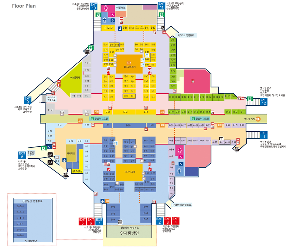 Floor Plan of Gangnam Station Underground Shopping Center | Seoul, South Korea