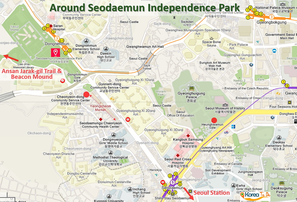 Seodaemun Independence Park - Map of Nearby Attractions | KoreaToDo