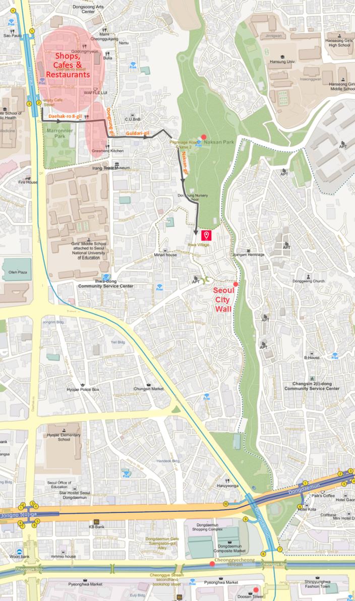 Ihwa Mural Village - Location Map | KoreaToDo