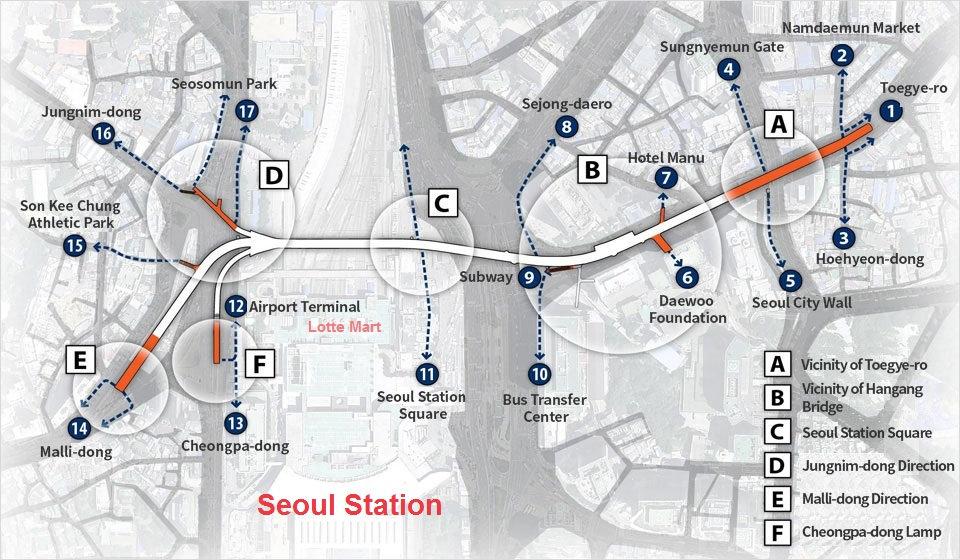 Course Map of Seoullo 7017 | Seoul, South Korea