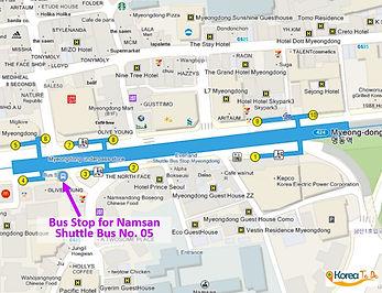 Map of Namsan Shuttle Bus 05 Bus Stop from Myeongdon Station (line 4) | KoreaToDo