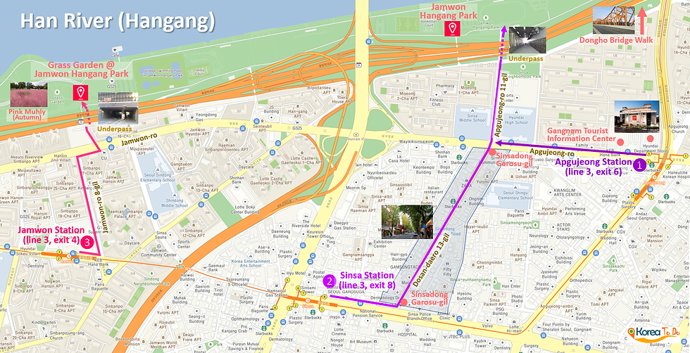 Getting to Jamwon Hangang Park & Location Map of Top Places around | Seoul, South Korea