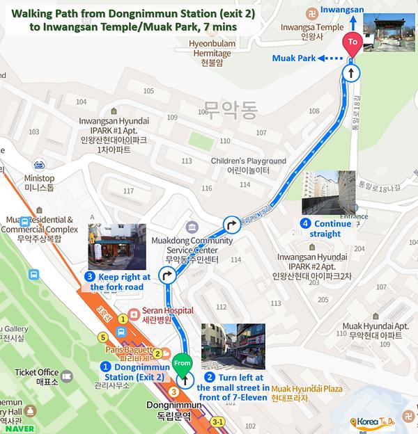 Inwangsan Mountain - Walking Path from Dongnimmun Station (exit 2) to Inwangsan Temple / Muak Park