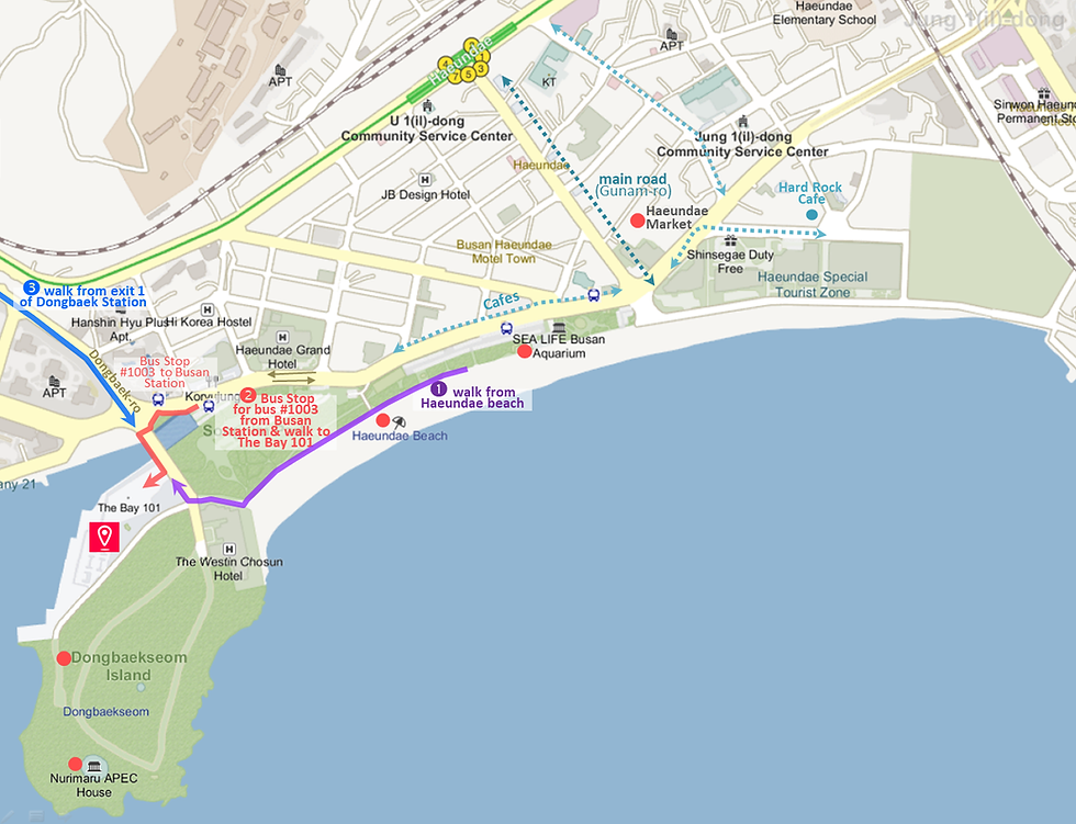 Getting to The Bay 101 by Bus, Train or Walk & Location Map of Top Places around | Busan, South Korea