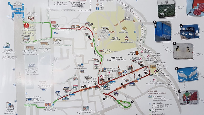 Ihwa Mural Village - Walking Map & Getting There | Seoul, South Korea