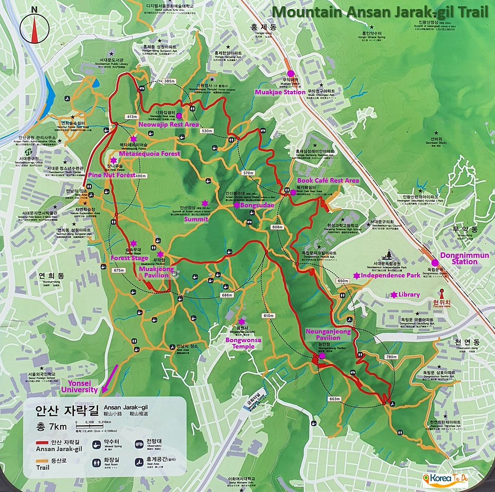 Map of Ansan Jarak-gil Trail | KoreaToDo