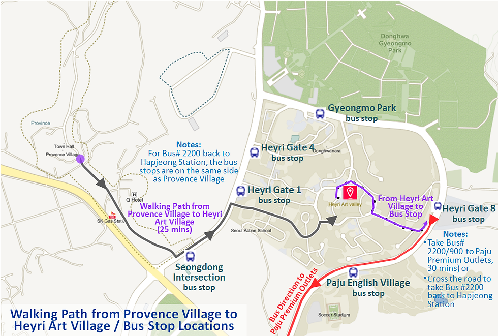 Walking Path from Provence Village to Heyri Art Village / Bus Stop Locations | Paju, South Korea