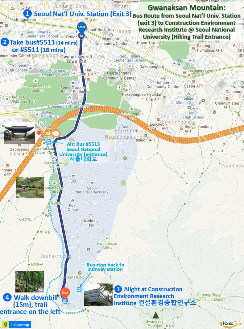 Bus Route: Seoul Nat'l Univ. Station to Construction Environment Research Institute (Trail Entrance)