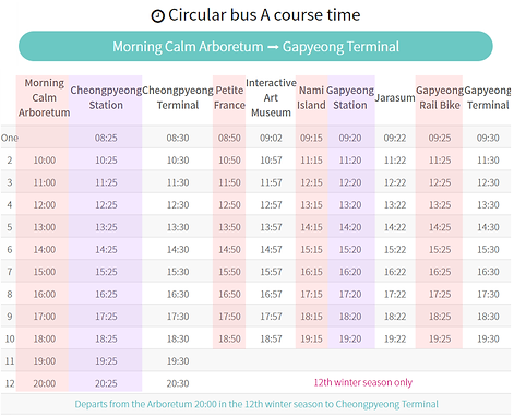 Bus Schedule from The Garden of Morning Calm to Gapyeong Terminal