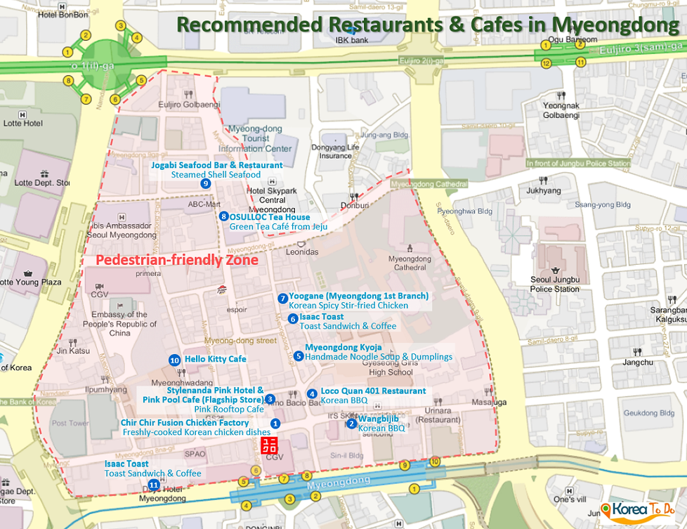 Map of Myeongdong Best Restaurants & Cafes Locations | Seoul, South Korea