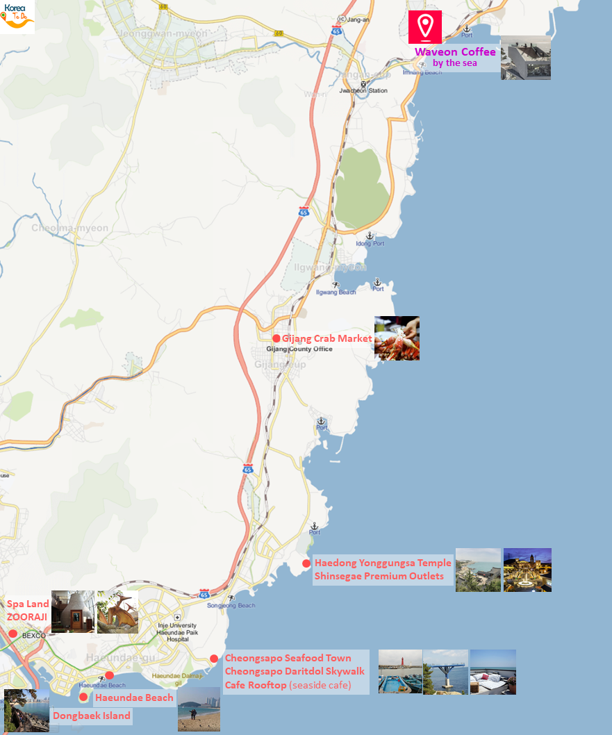Getting to Waveon Coffee & Location Map of nearby Places to Visit in North/East Busan | Busan, South Korea